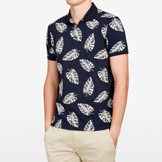 MIAMI  FLORAL PRINTED POLO  MARINE BLUE  hi-res