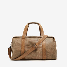 VINTAGE LEATHER LOOK DUFFLE BAG  VINTAGE BROWN  hi-res