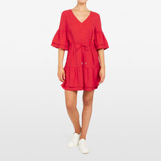 JACQUARD BELL SLEEVE DRESS  STRAWBERRY  hi-res