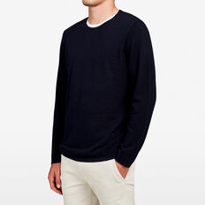 LIGHTWEIGHT BIRDSEYE CREW NECK KNIT  MARINE BLUE  hi-res