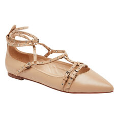 MINI EYELET CROSS OVER FLATS  NUDE  hi-res