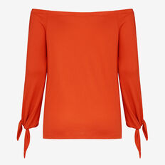 OFF SHOULDER TIE SLEEVE TEE  RED  hi-res