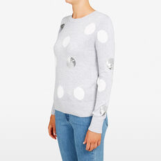 SEQUIN SPOT KNIT  GREY MAR/SUM WH/SILV  hi-res