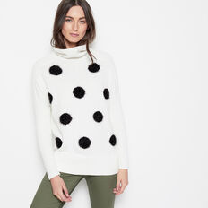 FLUFFY SPOT ROLL NECK KNIT  WINTER WHITE/BLACK  hi-res