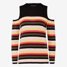 COLD SHOULDER  STRIPE KNIT  MULTI  hi-res
