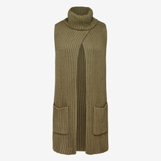 RIBBED ROLL NECK SCARF PONCHO  KHAKI  hi-res