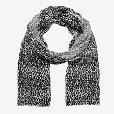 LEOPARD PRINT KNIT SCARF  WHITE/BLACK  hi-res