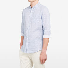 LINEN REGULAR FIT SHIRT  BLUE FLORAL  hi-res