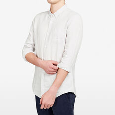 LINEN REGULAR FIT SHIRT  PALE GREY MELANGE  hi-res