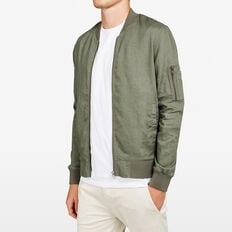 VACATION LINEN BOMBER  WASHED OLIVE  hi-res
