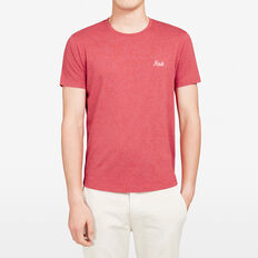 FCUK SMALL SCRIPT CREW NECK T-SHIRT  RED MARLE  hi-res