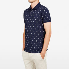 PALM PRINTED POLO  NAVY MARLE  hi-res