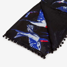 FLYING SWALLOWS SCARF  BLACK MULTI  hi-res