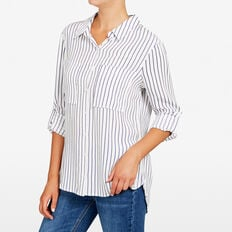 STRIPE CLASSIC SHIRT  SUMMER WHITE/NOCTURN  hi-res