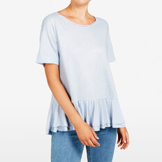 DOUBLE PEPLUM FOIL TEE  LIGHT BLUE/SILVER  hi-res