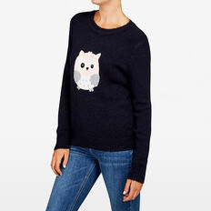 EMBROIDERED OWL KNIT  NOCTURNAL MULTI  hi-res