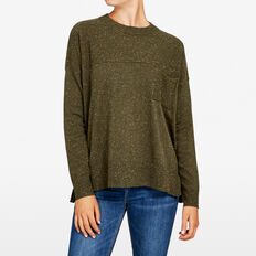 SLOUCHY POCKET MULTI NEPS KNIT  KHAKI MARLE  hi-res