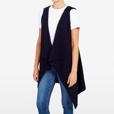 HOODED RIB PONCHO  NAVY  hi-res