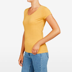 HAYLEY STRETCH SCOOP NECK TEE  MARIGOLD  hi-res