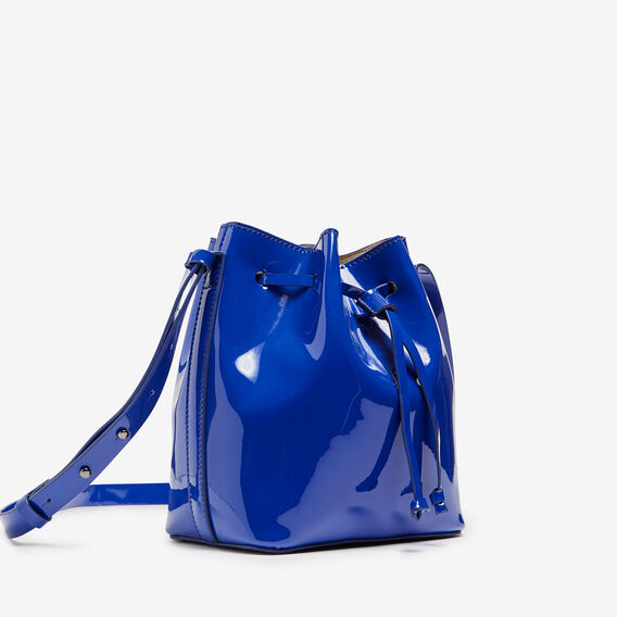 MINI PATENT BUCKET BAG  COBALT  hi-res