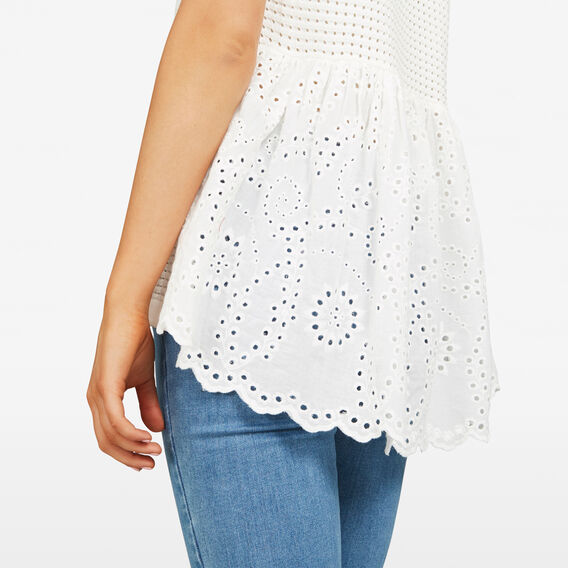 LACE BASKET WEAVE KNIT  SUMMER WHITE  hi-res