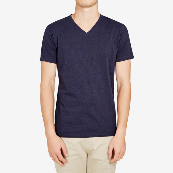 CLASSIC V NECK T-SHIRT  NAVY MARL  hi-res