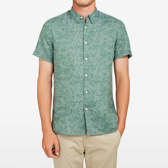 PALM LEAF LINEN REGULAR FIT SHIRT  GREEN LEAF  hi-res