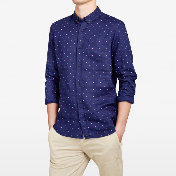 LINEN REGULAR FIT SHIRT  INDIGO SPOT  hi-res