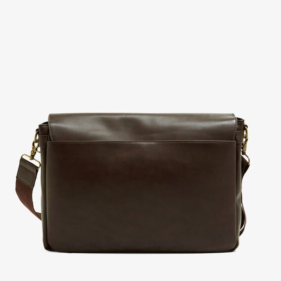 SAFARI LEATHER LOOK MESSENGER  CHOCOLATE  hi-res