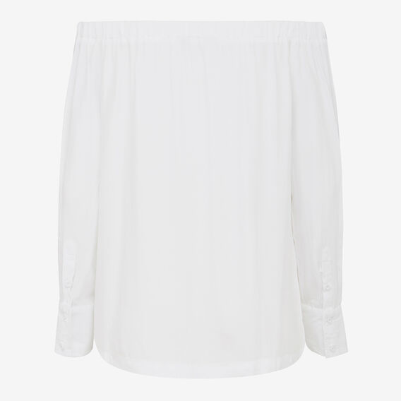CUFFED OFF SHOULDER SHIRT  SUMMER WHITE  hi-res