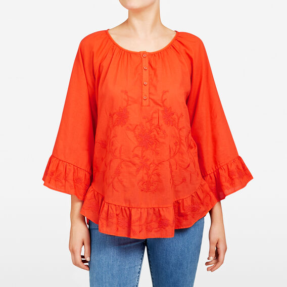 VOIL EMBROIDERED BLOUSE  RED  hi-res
