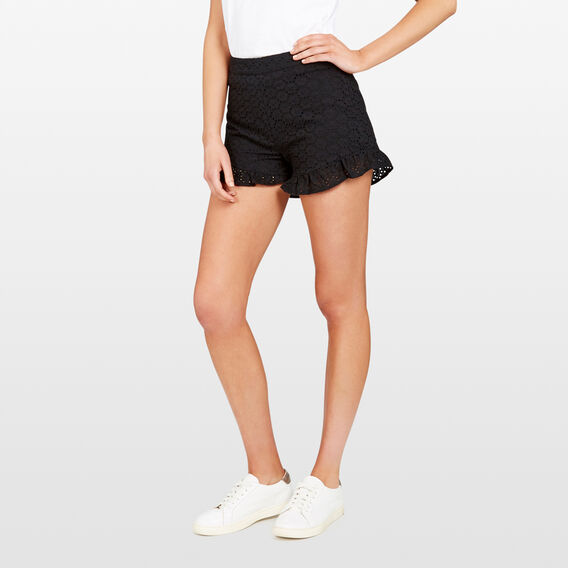 LACE FRILL HEM SHORT  BLACK  hi-res
