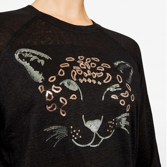 EMBELLISHED CHEETAH TEE  BLACK  hi-res