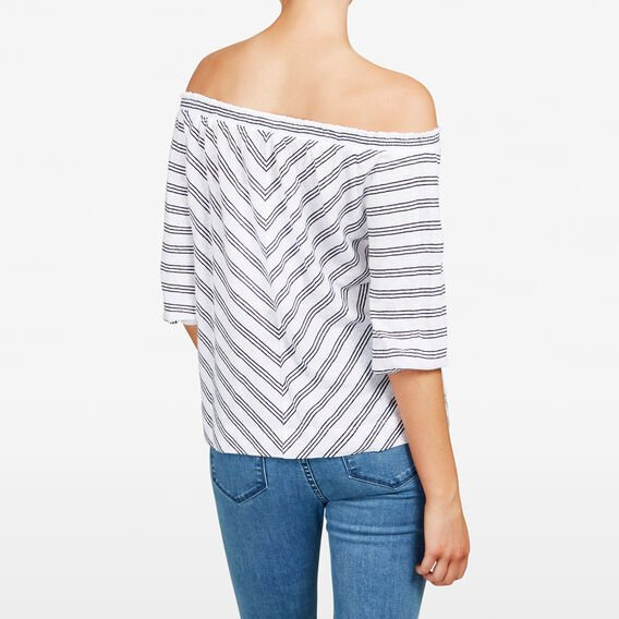 STRIPE OFF SHOULDER TEE  SUMMER WHITE/NOCTURN  hi-res
