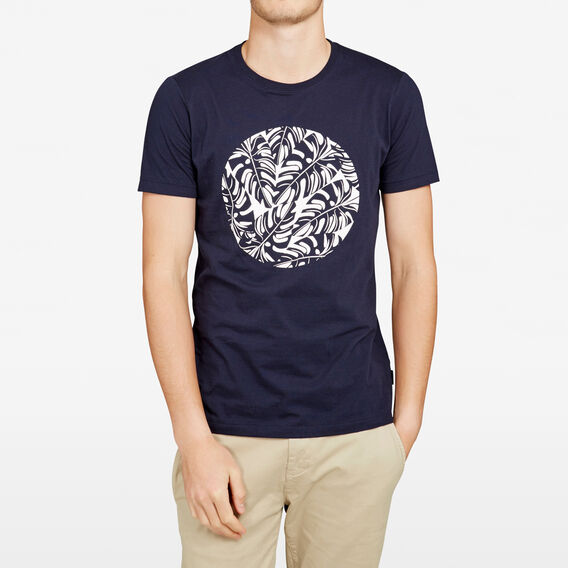 CIRCLE PALMS CREW NECK T-SHIRT  MARINE BLUE  hi-res