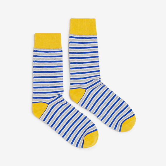 BOLD STRIPE 1 PK SOCK  GREY/BLUE  hi-res