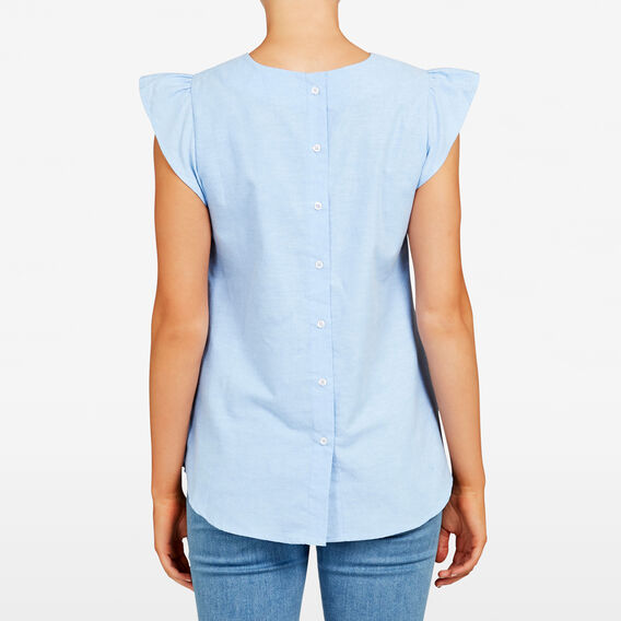 BUTTON BACK SLEEVELESS SHIRT  LIGHT BLUE  hi-res