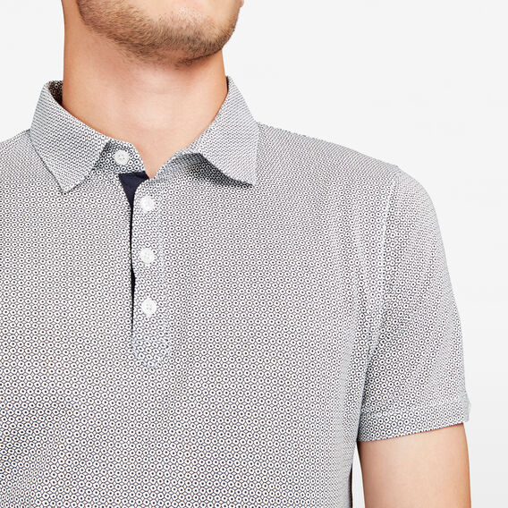 GEO PRINT POLO  WHITE/MARINE BLUE  hi-res