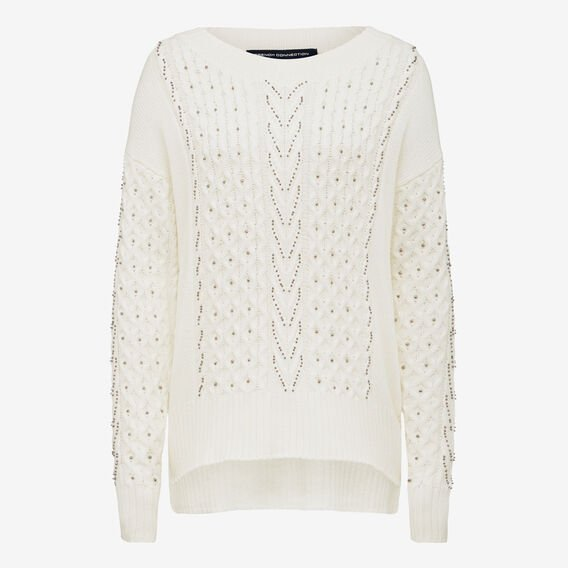 EMBELLISHED CABLE KNIT  WINTER WHITE  hi-res