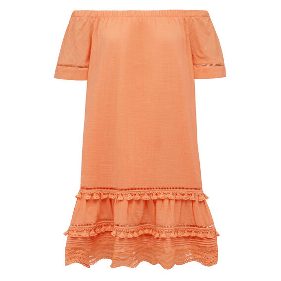 TASSEL TRIM OFF SHOULDER DRESS  PAW PAW  hi-res