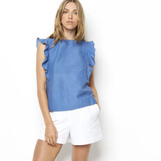 I SAY YES CHAMBRAY FRILL TOP  MID BLUE  hi-res