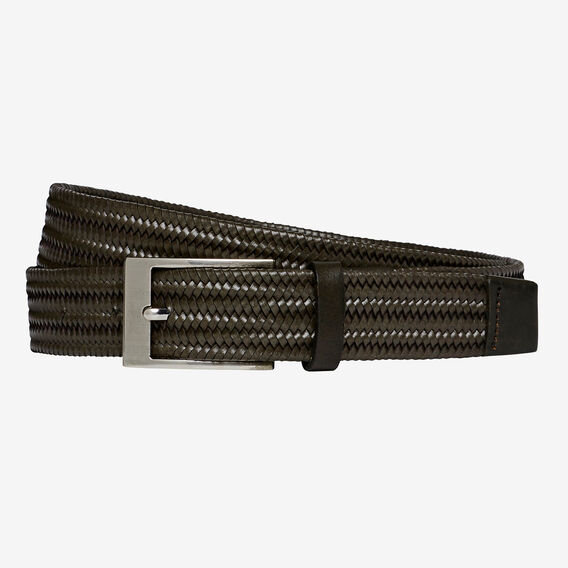 INTRICATE WEAVE LEATHER BELT  PETROL  hi-res