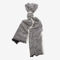 BORDER HERRINGBONE SCARF  BLACK/WHITE  hi-res