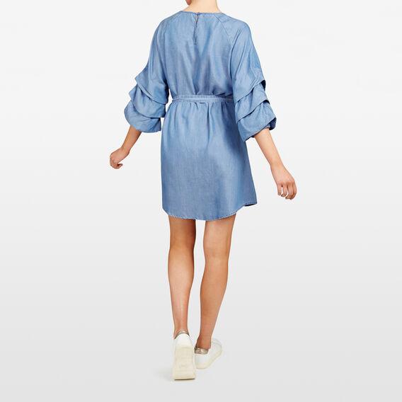 ROUCHED SLEEVE CHAMBRAY DRESS  CHAMBRAY  hi-res
