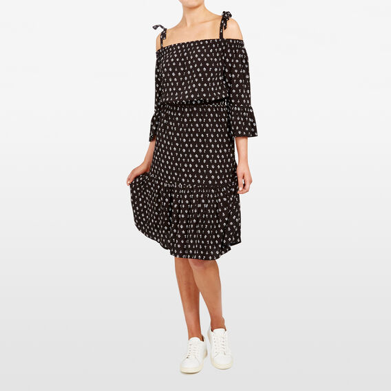 OFF SHOULDER PRINTED DRESS  BLACK/SUMMER WHITE  hi-res