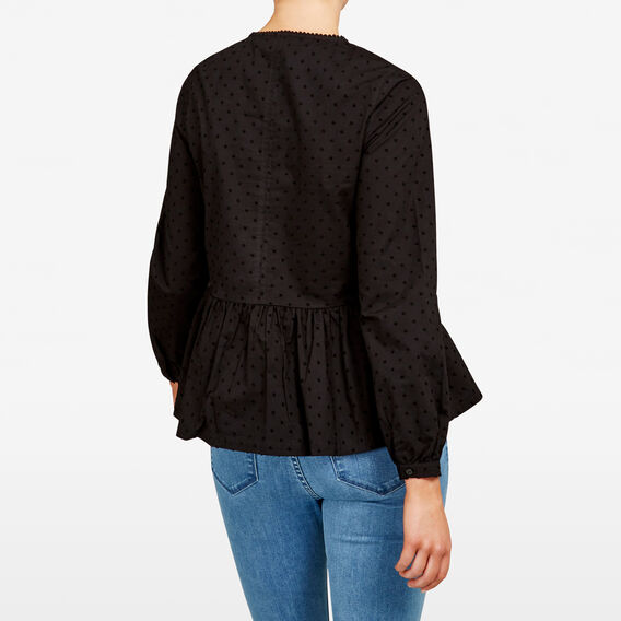TASSEL DOBBY SHIRT  BLACK  hi-res