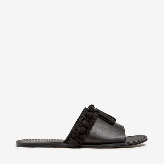 LEATHER POM POM SLIDES  BLACK  hi-res