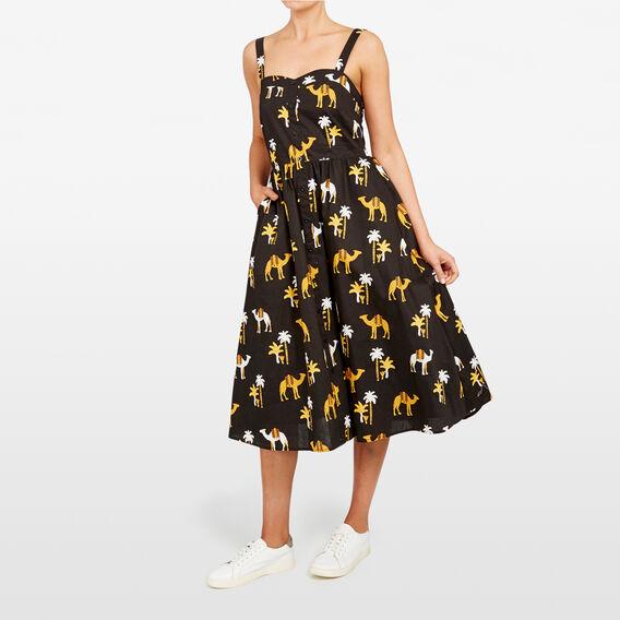 CAMEL PRINTED DRESS  BLACK/MULTI  hi-res