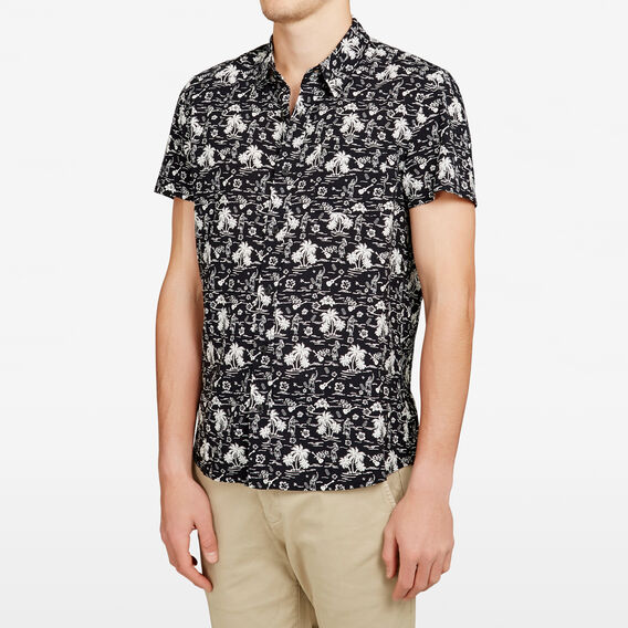 MAHALO PRINT REGULAR FIT SHIRT  BLACK  hi-res