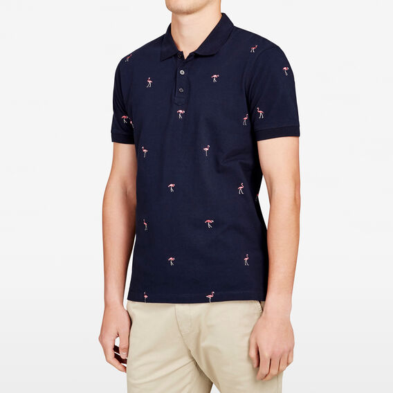 FLAMINGO LOUNGE EMBROIDERED POLO  MARINE BLUE  hi-res